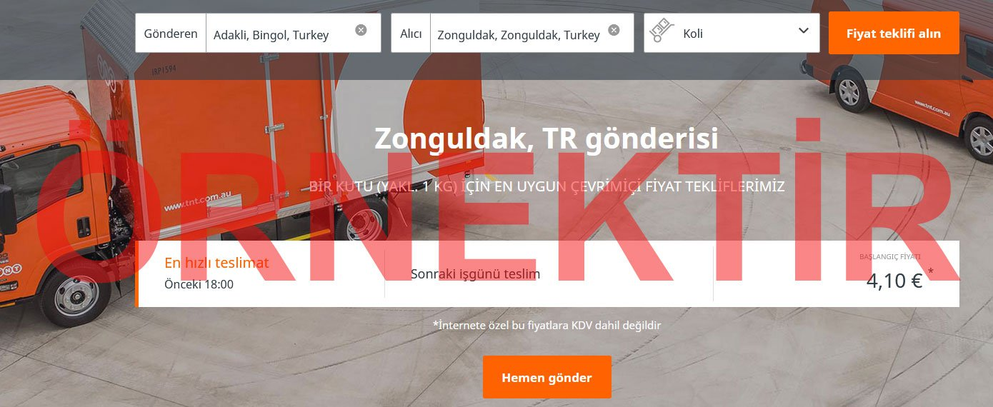 TNT Express Kargo Gönderim Süresi Hesaplama