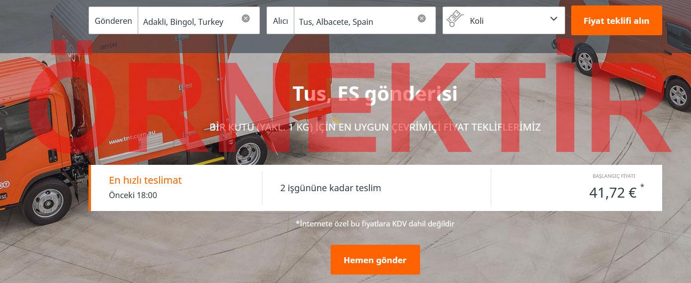 TNT Express Kargo Ücret Hesaplama